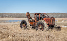 Orange old antique heavy duty bulldozer Royalty Free Stock Photography
