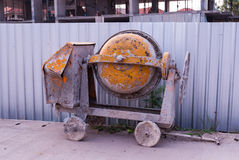 Orange Old Cement Mixing Machine Royalty Free Stock Photography