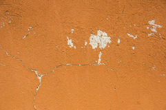Orange old wall with the elements of destruction. Stock Images