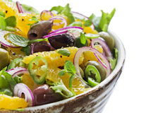 Orange and Olive Salad. Orange and Red Onion Salad. Shallow Depth of Field Stock Photo