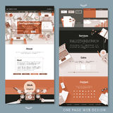 Orange one page website template design Stock Photo