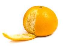 Orange with one slice peel. On white royalty free stock photo