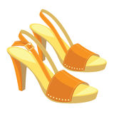 Orange open-back shoes with anckle strap. Vector illustration of orange open-back shoes with anckle strap on white background. Summer shoes for girl and woman Royalty Free Stock Photo