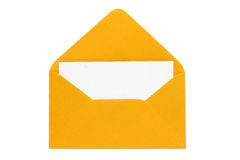 Orange open enveloped with blank card royalty free stock images