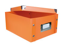 Orange opened storage box Royalty Free Stock Images