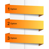 Orange option banners. Buttons template Stock Image