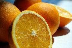 Orange by orange. A fresh orange from a citrus tree Stock Images