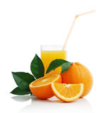 Orange with orange juice and the cut slices Royalty Free Stock Photos