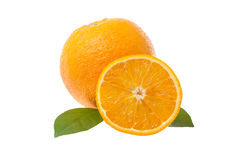Orange and orange slice isolated on white background Royalty Free Stock Photography