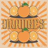 Orange Oranges Vintage Retro Signage Vector. Sign graphic design Royalty Free Stock Photography