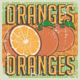 Orange Oranges Vintage Retro Signage Vector. Sign graphic design Stock Image