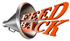 Orange ord för återkoppling i megafon Fotografering för Bildbyråer