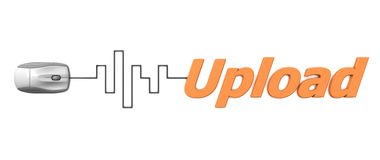Orange ordUpload med den gråa musen - Digital kabel Royaltyfri Fotografi