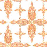 Orange orientalisk solig tappning snör åt den sömlösa modellen Stock Illustrationer