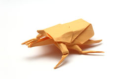 Orange origami bug Royalty Free Stock Images