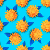 Orange Origami Floral seamless pattern. On blue background. Paper cut flowers with leaves. Trendy Design Template Vector illustration Royalty Free Stock Photos