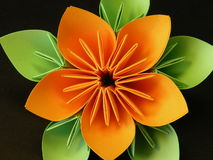 Orange origami flower Royalty Free Stock Photos