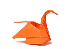 Orange origami swan over white Royalty Free Stock Photo