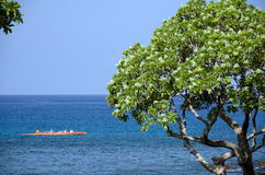 Orange outrigger in waters near the north end of Kaunaoa beach Stock Photos