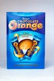 Orange påskägg för choklad Arkivfoton