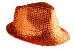 Orange paillette hat Stock Photos