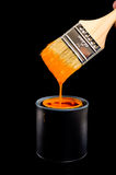 Orange Paint and Brush Royalty Free Stock Photo