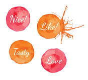 Orange paint circle with lettering and splash Royalty Free Stock Images