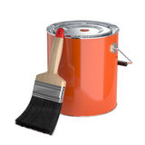 Orange paint in the closed can with new clear brush. Renovation Stock Photos