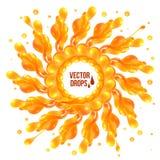 Orange paint splash circle on white background Stock Images