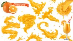 Orange paint splash. Mango, pineapple, papaya juice. 3d vector icon set. Orange paint splash. Mango, pineapple, papaya juice. 3d realistic vector icon set royalty free illustration