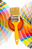 Orange paint and swatches. Stock Images