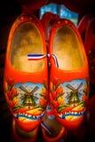 Orange Painted Dutch Wooden Shoes Stock Images
