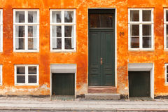 Orange Painted House In Copenhagen Stock Image