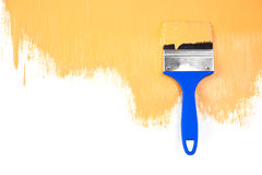 Orange  painted shape with brush Royalty Free Stock Image
