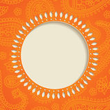 Orange paisley frame Stock Image