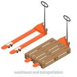 Orange pallet truck Royalty Free Stock Image