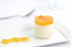 Orange panna cotta royalty free stock photography