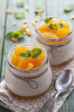 Orange Panna Cotta Stock Photography