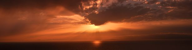 Orange Panoramic Sunset in Mallorca. Sunset on a Beach of Mallorca Royalty Free Stock Photography