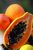Orange papaya with black seeds Royalty Free Stock Photography