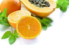 Orange, papaya and mint Royalty Free Stock Images