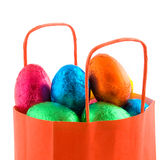 Orange paper bag with eggs Stock Photography