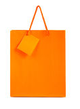 Orange paper bag isolated Royalty Free Stock Photography