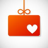 Orange paper banner by Valentin's holiday Stock Photo