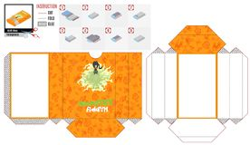 Orange paper box sliding with a magical cat vector illustration