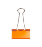 Orange paper clip isolated on white Stock Images