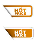 Orange  paper element sticker hot price in two variant Royalty Free Stock Photography