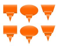Orange paper speech bubbles or labels with bent corner. As origami - vector Royalty Free Stock Photo