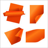 Orange paper sticker. Vector set of orange paper Stock Images