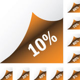 Orange paper stickers with discount Stock Image